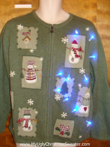 Green Light Up Ugly Christmas Jumper with Snowmen