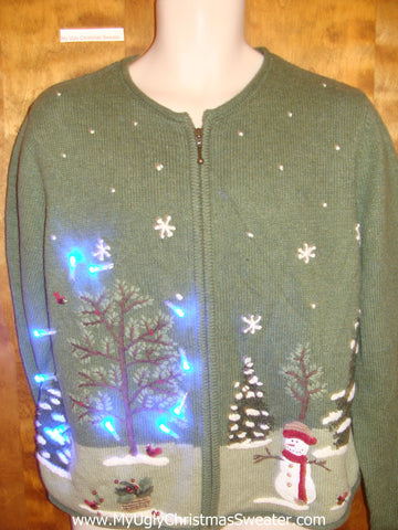 Green Winter Wonderland Light Up Ugly Christmas Jumper
