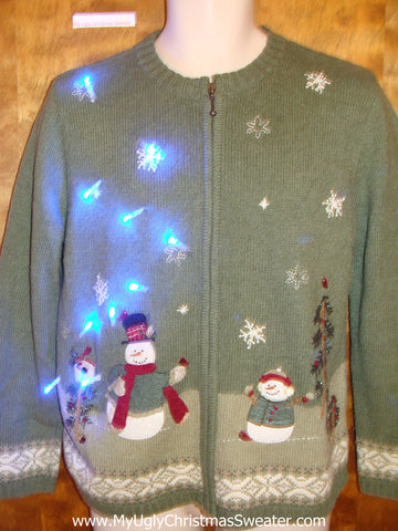 Snowman Family Holidays Light Up Ugly Christmas Jumper