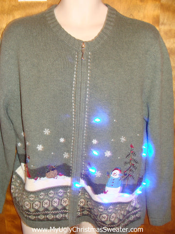 Snowman Winter Themed Light Up Ugly Christmas Jumper