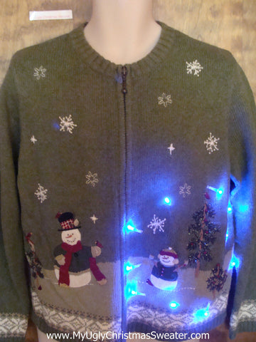 Snowstorm with a Snowman Family Light Up Ugly Christmas Jumper