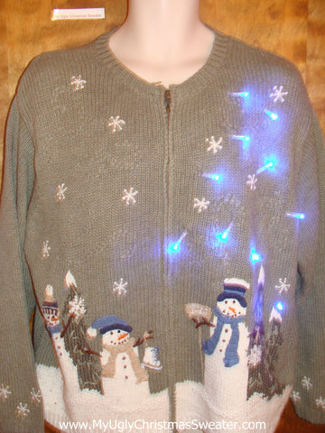 Snowman PreGame Party in the Winter Light Up Ugly Christmas Jumper