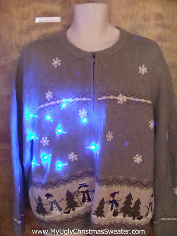 Tacky Snowman Party Light Up Ugly Christmas Jumper