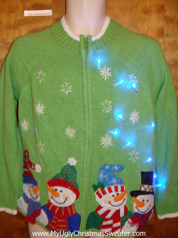 Lime Green Snowman Foursome Light Up Ugly Christmas Jumper