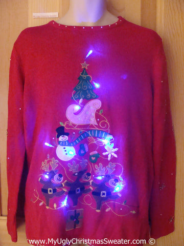 Tacky Xmas Sweater with Lights Dancing Reindeer (g198)