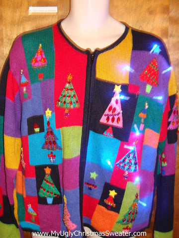 Bright and Beautiful Trees Light Up Ugly Christmas Jumper
