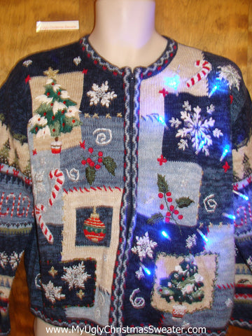Snowflake Convention Light Up Ugly Christmas Jumper