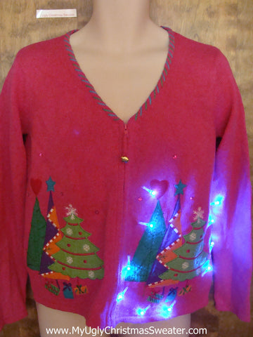 Bright Pink and Pastels Light Up Ugly Christmas Jumper