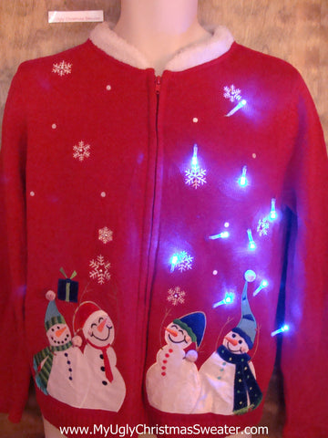 Snowman Foursome Pregame Light Up Ugly Christmas Jumper