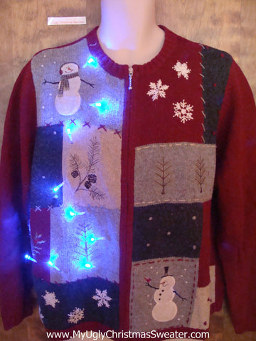 Patchwork Party Light Up Ugly Christmas Jumper
