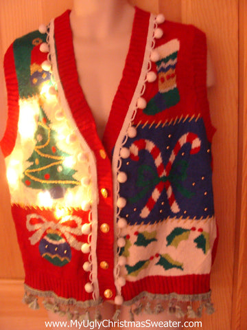 Tacky Ugly Christmas Sweater Vest with Lights and Fringe. 80s Style with Candycane(g19)