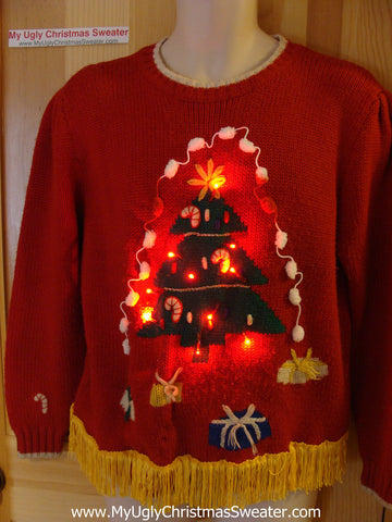 Tacky Ugly Christmas Sweater with Lights and Fringe. Huge tree. 80's retro style. (g1)