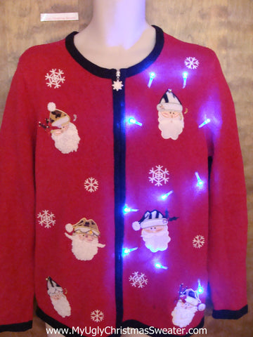 Santa Six Pack Light Up Ugly Xmas Sweater
