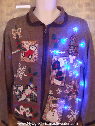 Brown Snowflake Mess Light Up Ugly Xmas Sweater