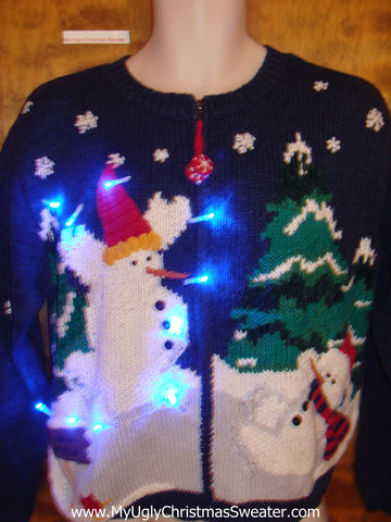 Fun 2sided Snowman Themed Light Up Ugly Xmas Sweater