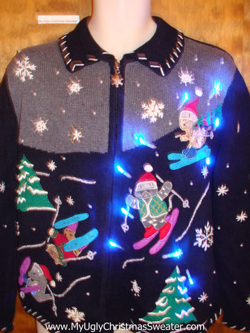 Ski Party with Bears Light Up Ugly Xmas Sweater