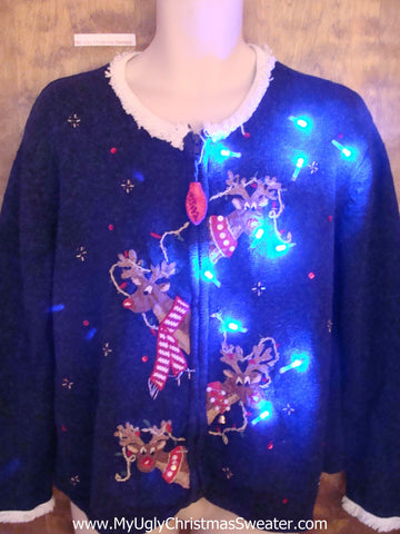 Funny Confused Reindeer Light Up Ugly Xmas Sweater