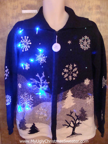 Black and White Winter Light Up Ugly Xmas Sweater