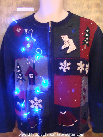 Ice Skates and Cocoa Light Up Ugly Xmas Sweater