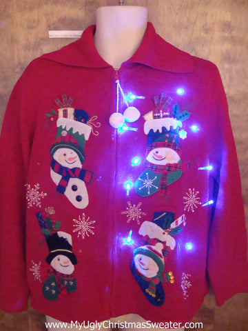 Silly Snowman Stockings Light Up Ugly Xmas Sweater