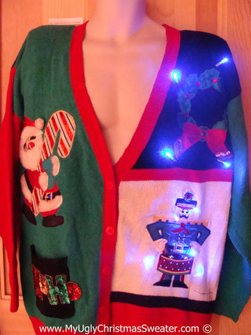 80s Retro Christmas Sweater with Lights With Nutcracker (g200)