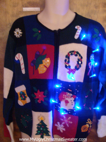 Busy Color Blocks Light Up Ugly Xmas Sweater