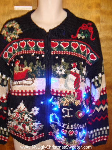 I HEART CHRISTMAS Light Up Ugly Xmas Sweater