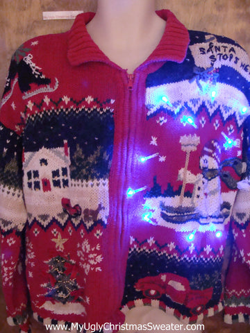 Fun and Festive 2sided Light Up Ugly Xmas Sweater