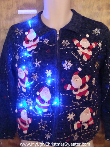 Santacon 2sided Light Up Ugly Xmas Sweater