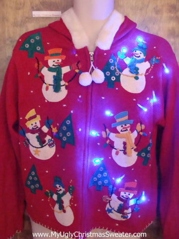 Snowman Friends Six Pack Light Up Ugly Xmas Sweater Hoodie