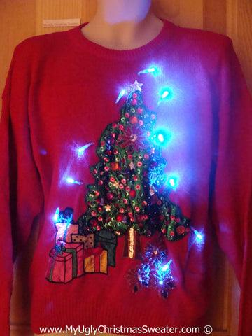 Christmas Sweater with Lights Red with Huge Tree (g201)