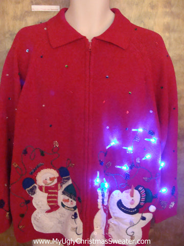Snowmen Decorating Light Up Ugly Xmas Sweater