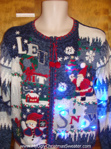 LET IT SNOW 2sided Blue Light Up Ugly Xmas Sweater