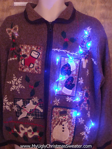 Light Up Brown Festive Ugly Xmas Sweater
