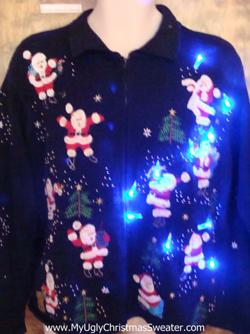 Light Up 2sided Santa and Reindeer Ugly Xmas Sweater