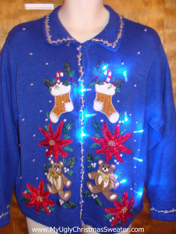 Super Bright Blue Awesome Light Up Ugly Xmas Sweater