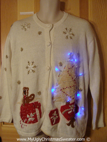 Christmas Sweater with Lights Ivory Cardigan with Tree (g202)