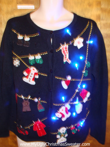 Santas Clothesline Festive Light Up Ugly Xmas Sweater
