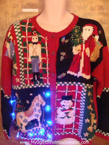 Light Up 80s Ugly Xmas Sweater with Nutcracker and Horse