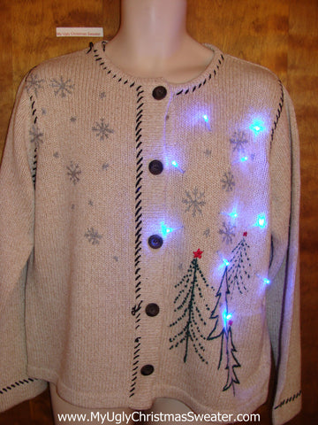 Tan Cross Stitch Trees Light Up Ugly Xmas Sweater
