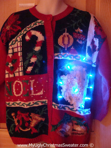 Christmas Sweater with Lights Santa NOEL  (g203)