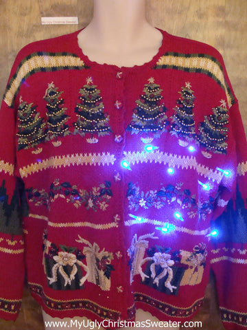 Crazy Red 80s 2sided Light Up Ugly Xmas Sweater