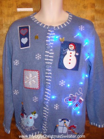 Snowman and Snowflakes Blue Light Up Ugly Xmas Sweater