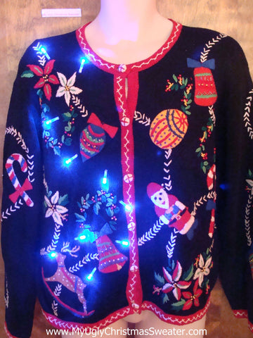 Ornament and Poinsettia Garland Ugly Xmas Sweater with Lights