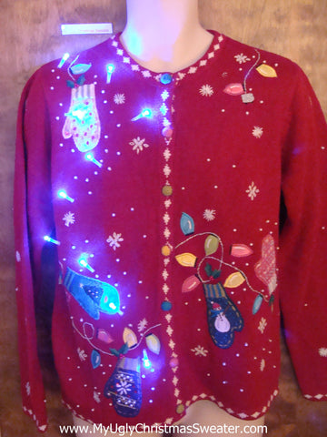 Light Up Ugly Xmas Sweater with Mittens and Bulbs