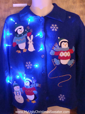 Penguin Skating Party Light Up Ugly Xmas Sweater