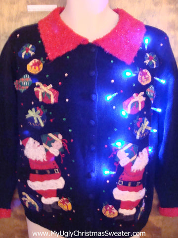Juggling Santa 2sided Light Up Ugly Xmas Sweater