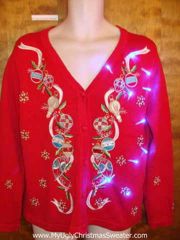 Light Up Fancy Garland Ugly Xmas Sweater