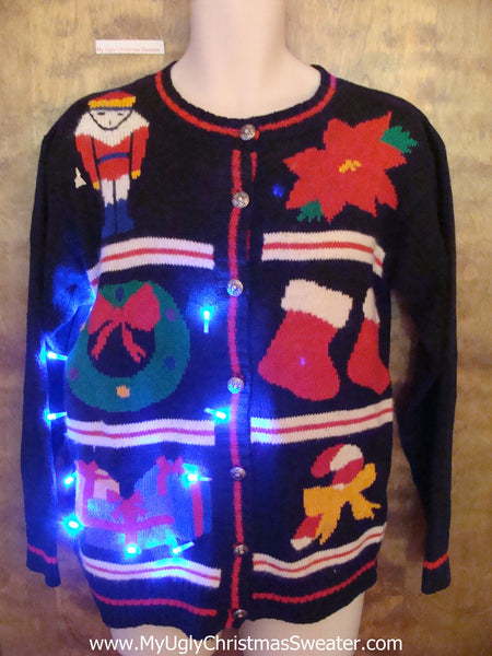 Grid of Six Fun Decorations 80s Light Up Ugly Xmas Sweater