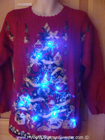 80s Red Christmas Sweater with Lights Huge Tree (g204)